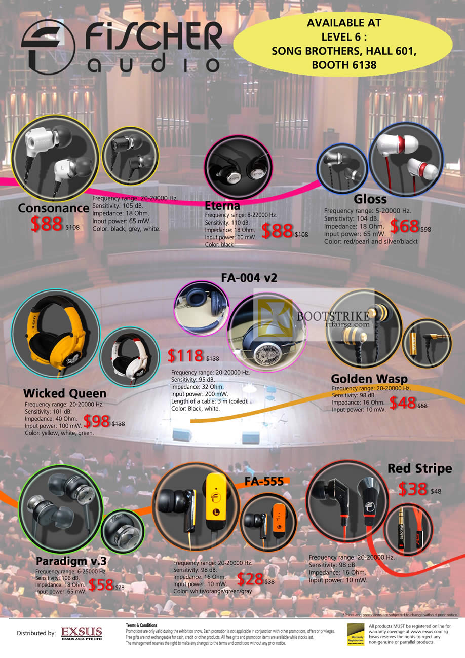 COMEX 2012 price list image brochure of Song Brothers Earphones Fischer Audio Consonance, Eterna, Gloss, Golden Wasp, FA-004 V2, Wicked Queen, Paradigm V.3, FA-555, Red Stripe