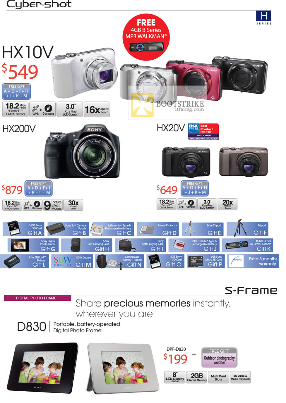 COMEX 2012 price list image brochure of Sony Cybershot Digital Cameras DSC HX10V, HX200V, HX20V, Digital Photo Frame DPF-D830
