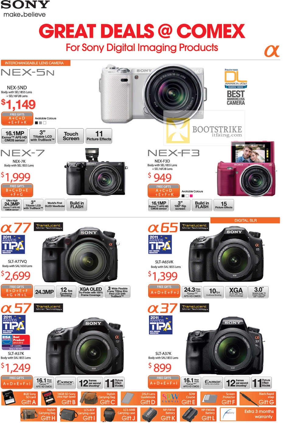 COMEX 2012 price list image brochure of Sony Digital Cameras Nex-5ND, Nex-7K, A77, SLT-A77VQ, A57K, A65VK, A37K, Nex-F3D