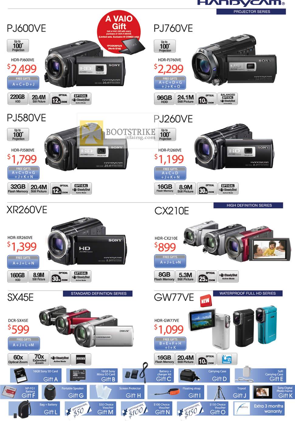 COMEX 2012 price list image brochure of Sony Handycam Video Camcorders HDR PJ600VE, PJ760VE, PJ580VE, PJ260VE, XR260VE, CX210E, GW77VE, DCR SX45E