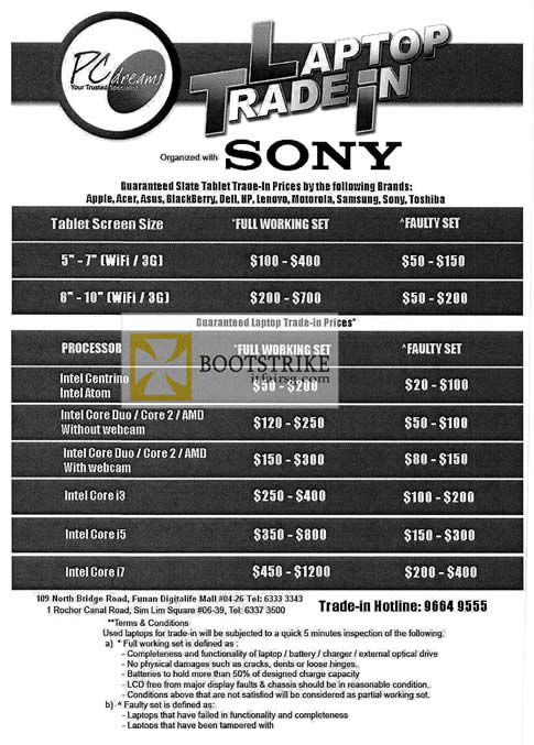 COMEX 2012 price list image brochure of Sony PC Dreams Notebook Trade In