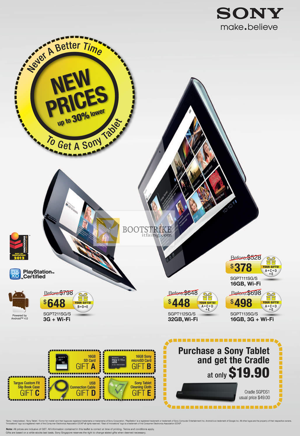 COMEX 2012 price list image brochure of Sony Tablets SGPT211SGS, SGPT112SGS, SGPT113SGS, SGPT111SGS