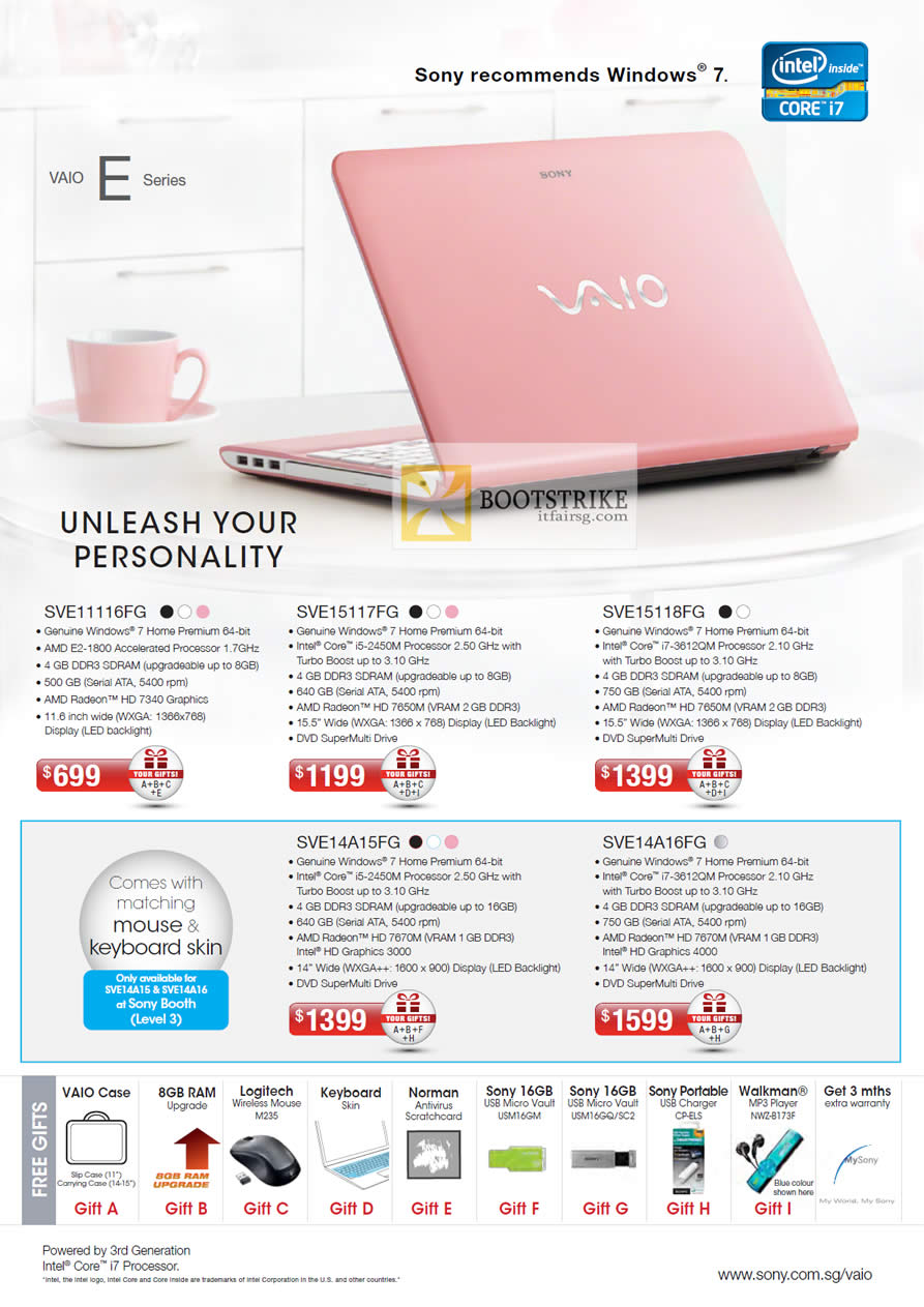 COMEX 2012 price list image brochure of Sony Vaio E Series Notebooks SVE11116FG, SVE15117FG, SVE15118FG, SVE14A15FG, SVE14A16FG