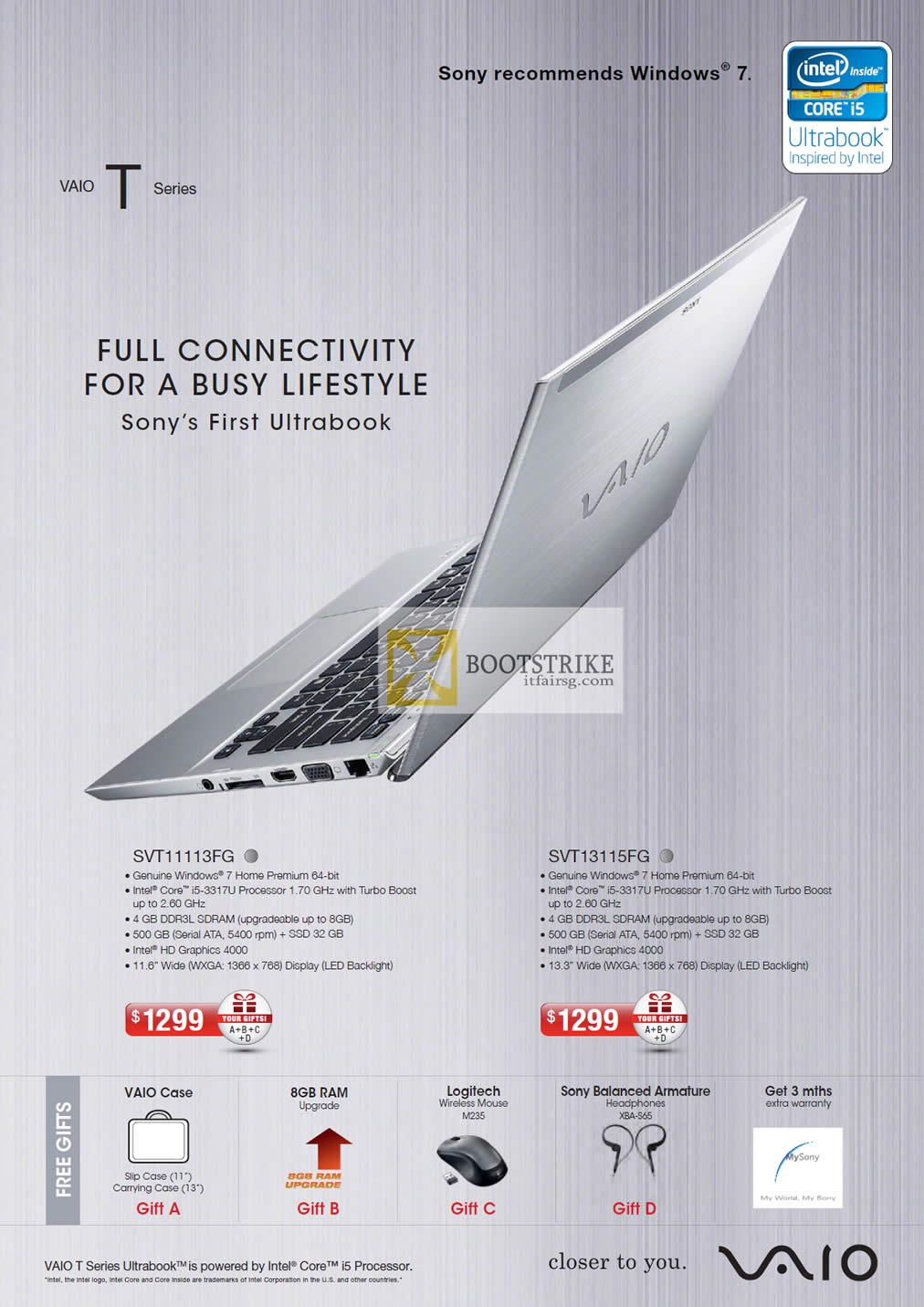 COMEX 2012 price list image brochure of Sony Vaio T Series Ultrabook Notebooks SVT11113FG, SVT13115FG