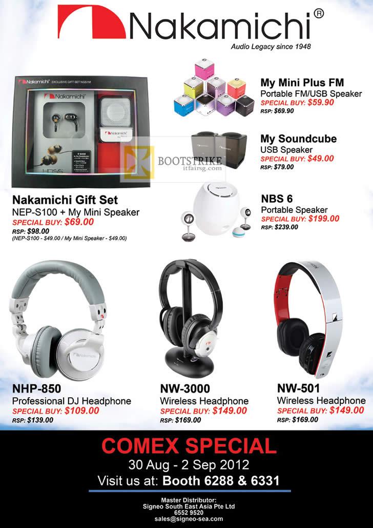 COMEX 2012 price list image brochure of Sprint-Cass Nakamichi NEP-S100 Speaker, My Mini Plus FM, Soundcube, NBS 6, Headphones NHP-850, NW-3000, NW-501