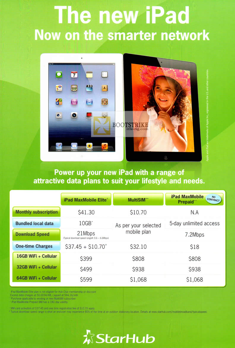 COMEX 2012 price list image brochure of Starhub Apple IPad Plans