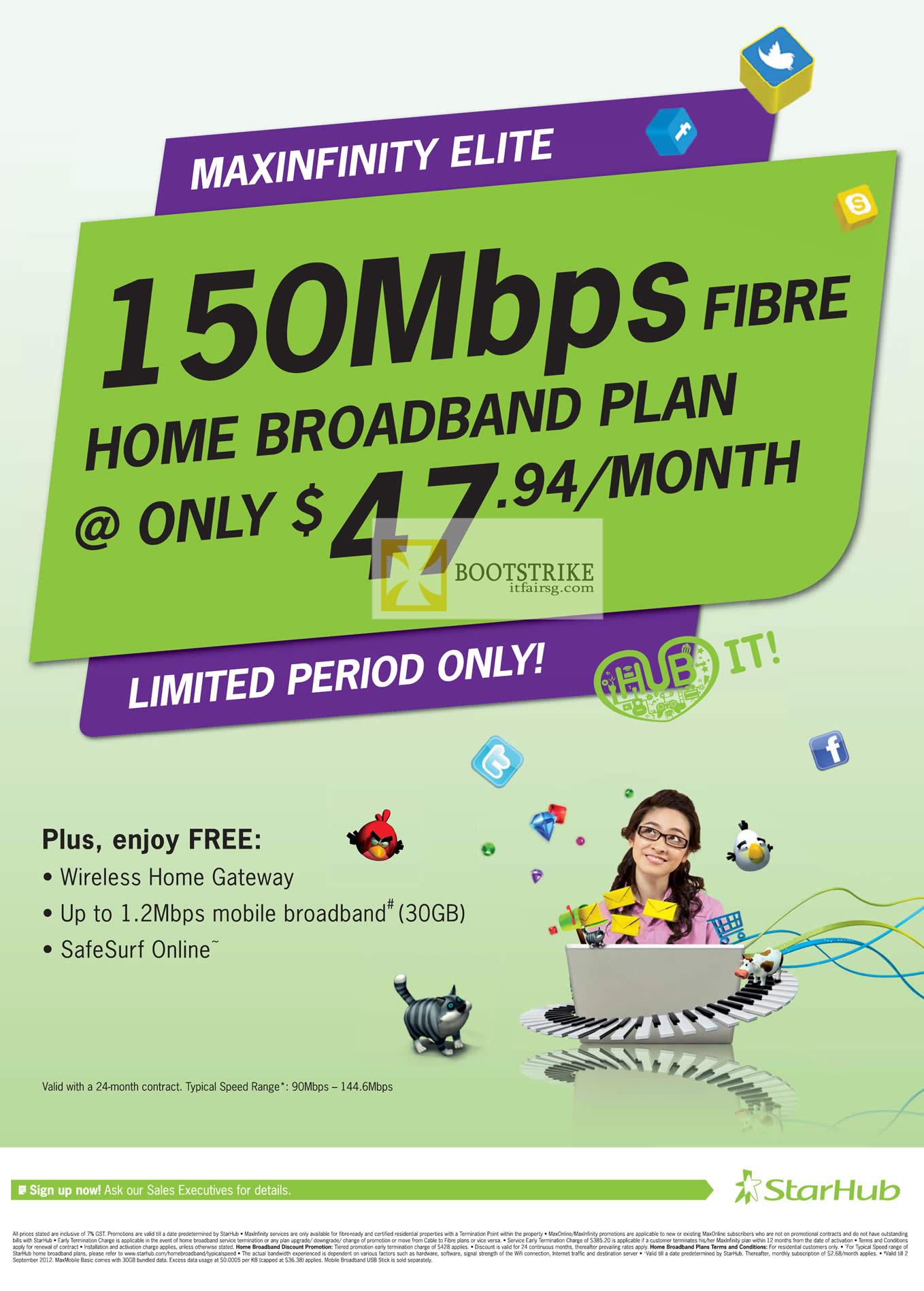nice starhub home broadband plan. COMEX 2012 price list image brochure of Starhub Broadband 47 94 Fibre  150Mbps Free Gateway 1 2Mbps Mobile