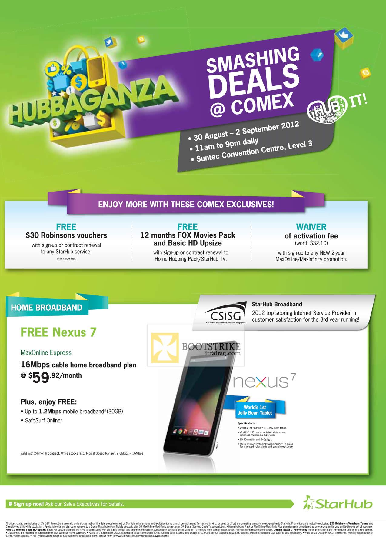 nice starhub home broadband plan. COMEX 2012 price list image brochure of Starhub Exclusives Broadband Nexus  7 Maxonline Express Robinsons