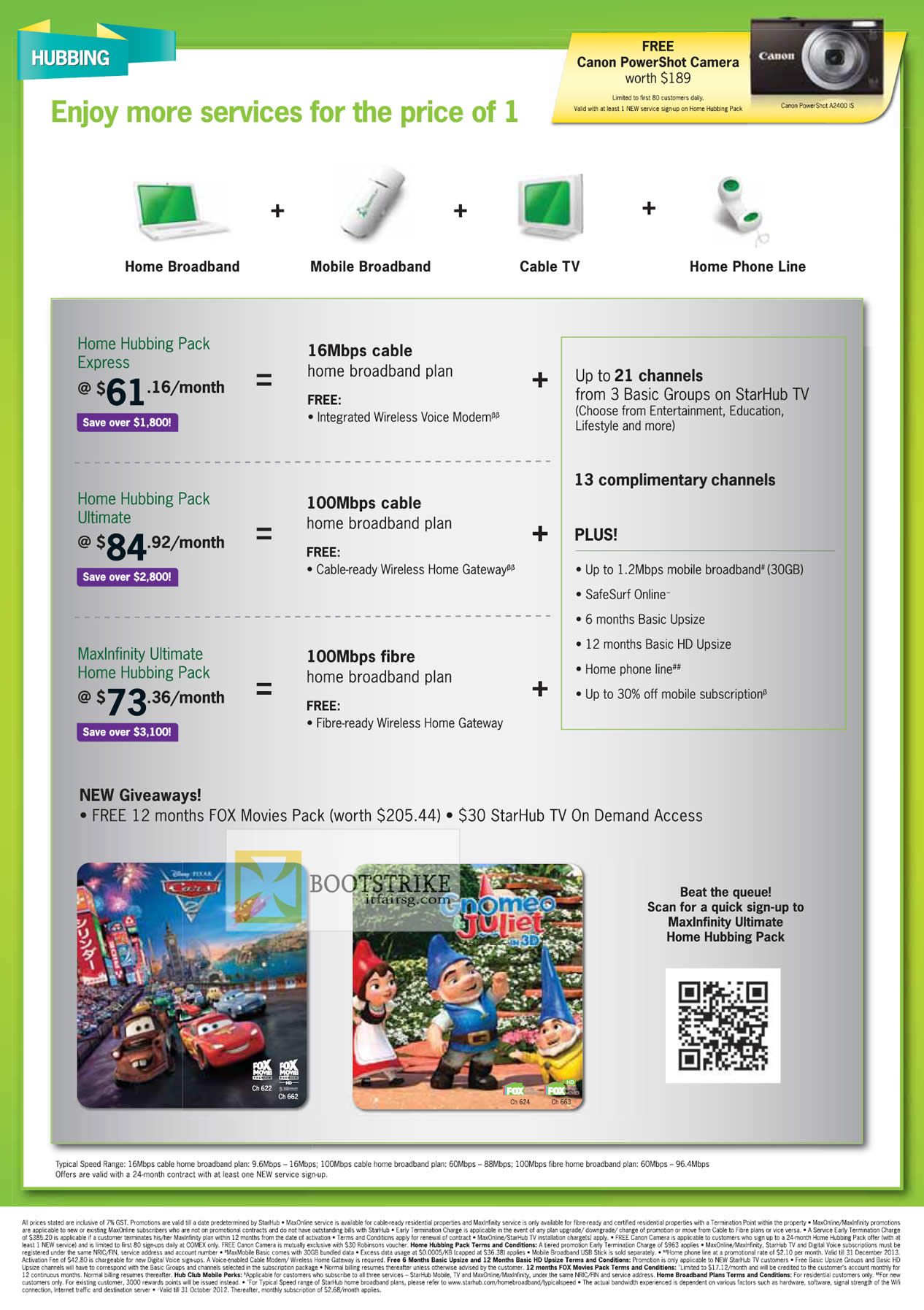 COMEX 2012 price list image brochure of Starhub Home Hubbing Packs, Free 12 Months Fox Movies Pack, TV On Demand
