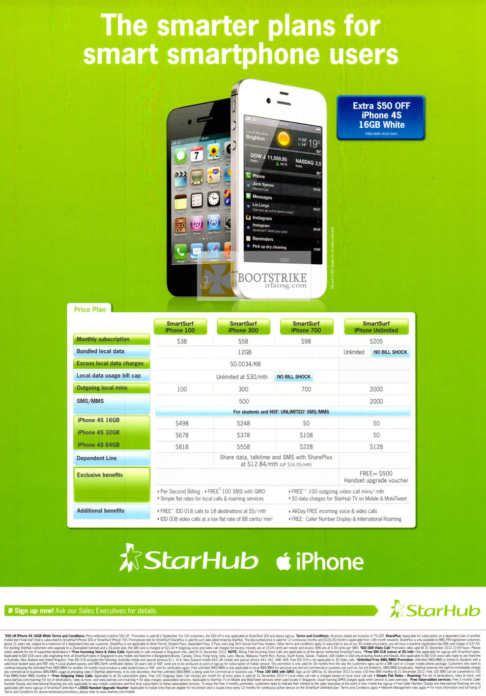COMEX 2012 price list image brochure of Starhub IPhone 4S