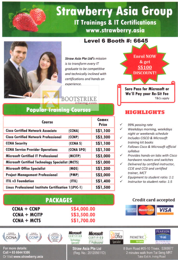 COMEX 2012 price list image brochure of Strawberry Asia IT Trainings IT Certifications, CCND CCNP, MCITP, MCTS, MOS, PMP, ITIL