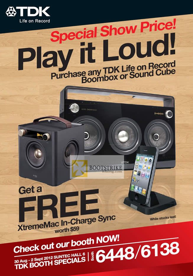 COMEX 2012 price list image brochure of TDK Life On Record Boombox, Sound Cube