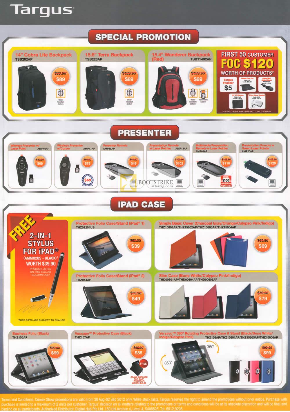 COMEX 2012 price list image brochure of Targus Backpacks Cobra Lite, Terra, Wanderer, Presenter, IPad Case, Folio