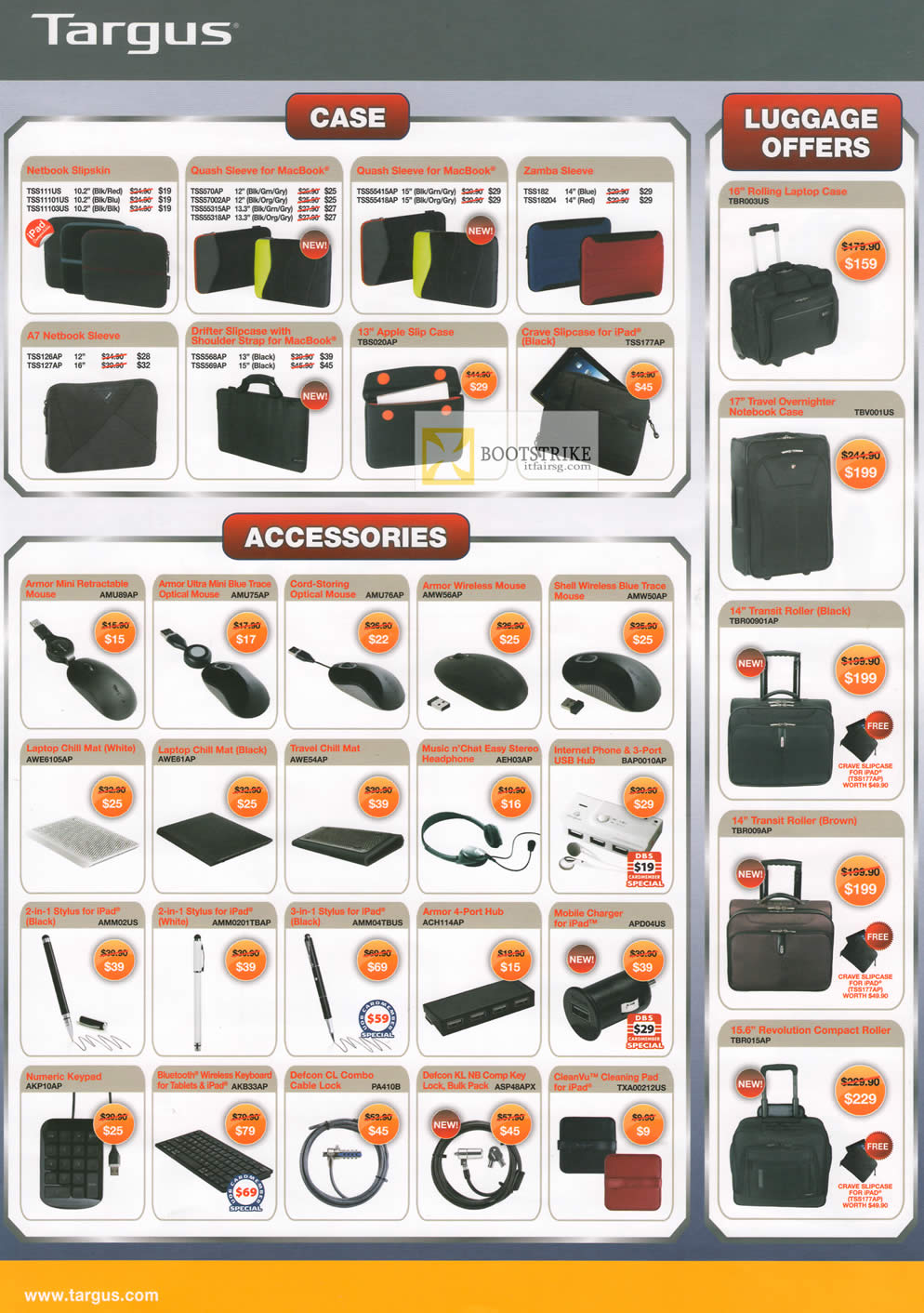 COMEX 2012 price list image brochure of Targus Case Netbook Slipskin, Sleeve, Luggage, Accessories Chill Mat, Cable Lock, Keypad