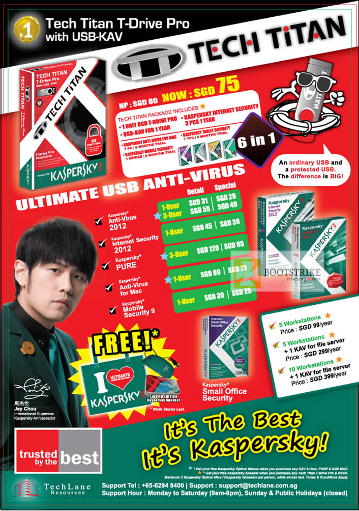 COMEX 2012 price list image brochure of TechLane Kaspersky AntiVirus 2012, Internet Security 2012, Pure, Anti-Virus For Mac, Mobile Security 9