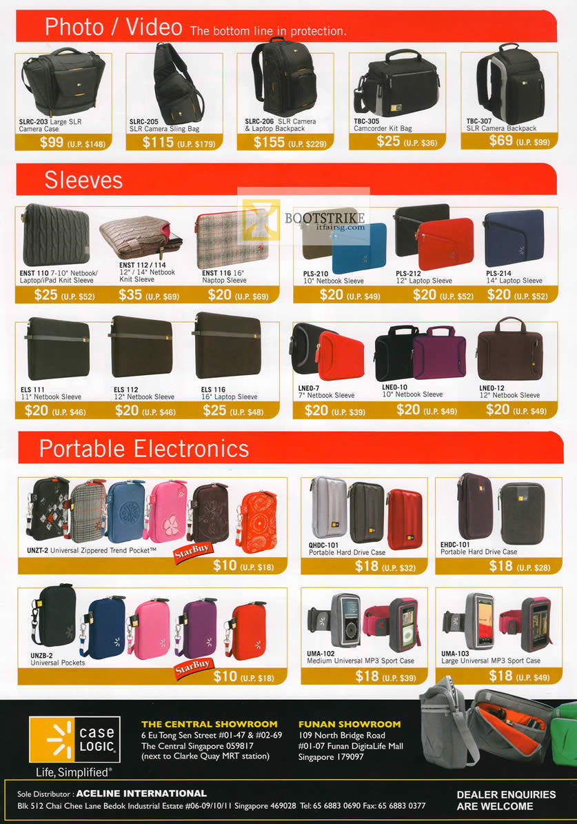 COMEX 2012 price list image brochure of The Headphones Gallery Case Logic Camera Case, SLR Bags, Backpacks, Sleeve, Universal Zippered Trend Pocket