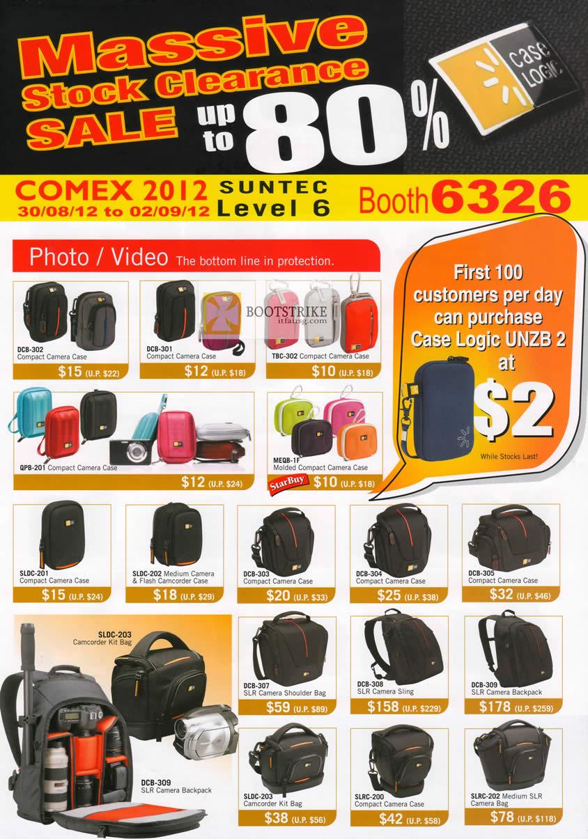 COMEX 2012 price list image brochure of The Headphones Gallery Case Logic Compact Camera Cases, SLR Camera Shoulder Bag, Sling, Kit Bag, Backpack