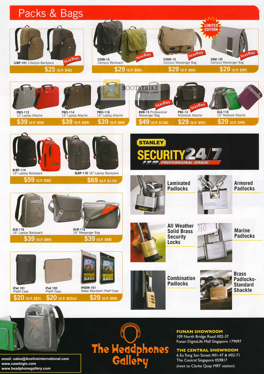 COMEX 2012 price list image brochure of The Headphones Gallery Case Logic Messenger Bags, Lifestyle, Laptop, Stanley Padlocks, IPad Case, Netbook Attache