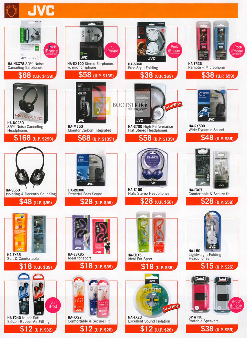 COMEX 2012 price list image brochure of The Headphones Gallery JVC Earphones Headphones HA NCX78, KX100, S360, FR36, NC250, M750, S700, RX500, S650, RX300, S150, FX67, FX35, L50, SP A130 Speakers