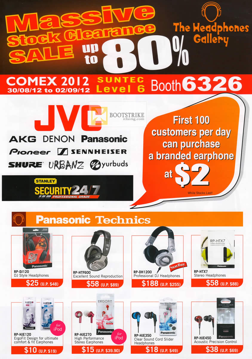 COMEX 2012 price list image brochure of The Headphones Gallery Panasonic Technics RP-DJ120, HTF600, DH1200, HTX7, HJE450, HJE350