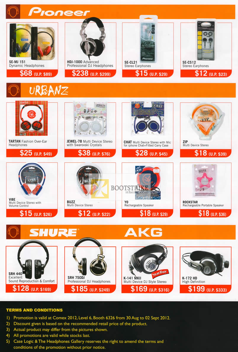 COMEX 2012 price list image brochure of The Headphones Gallery Pioneer Headphones SE-MU 151, HDJ-1000, Urbanz TARTAN, JEWEL-78, Shure AKG SRH 440, 750DJ, K-141 MKII, K-172 HD