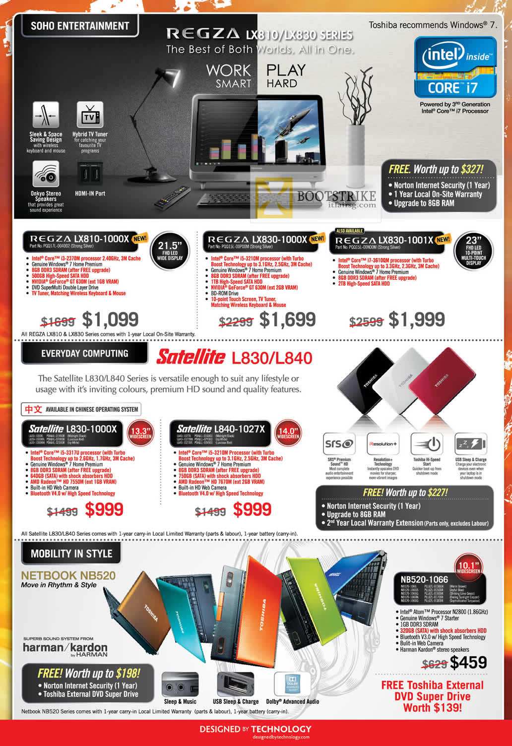 COMEX 2012 price list image brochure of Toshiba AIO Desktop PC Regza LX810-1000X, LX830-1000X 1001X, Notebooks Satellite L830-1000X, L840-1027X, Netbook NB520-1066
