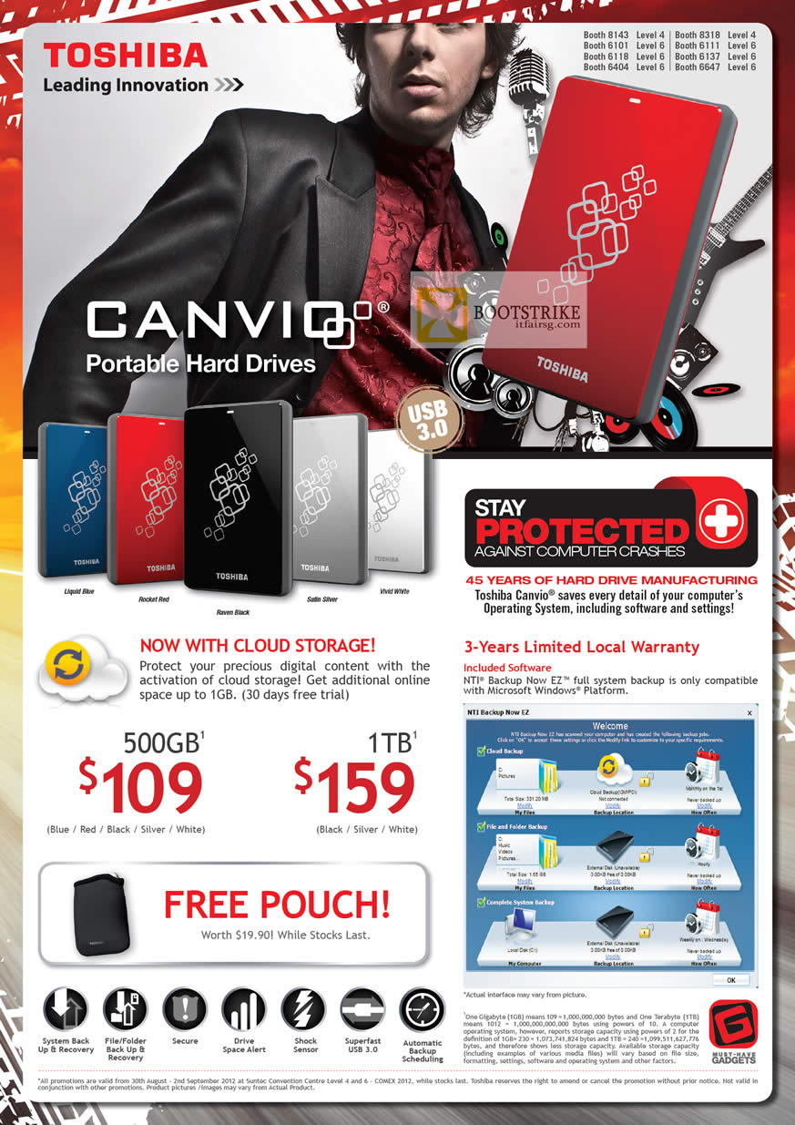 COMEX 2012 price list image brochure of Toshiba External Storage Canvio, Cloud Storage