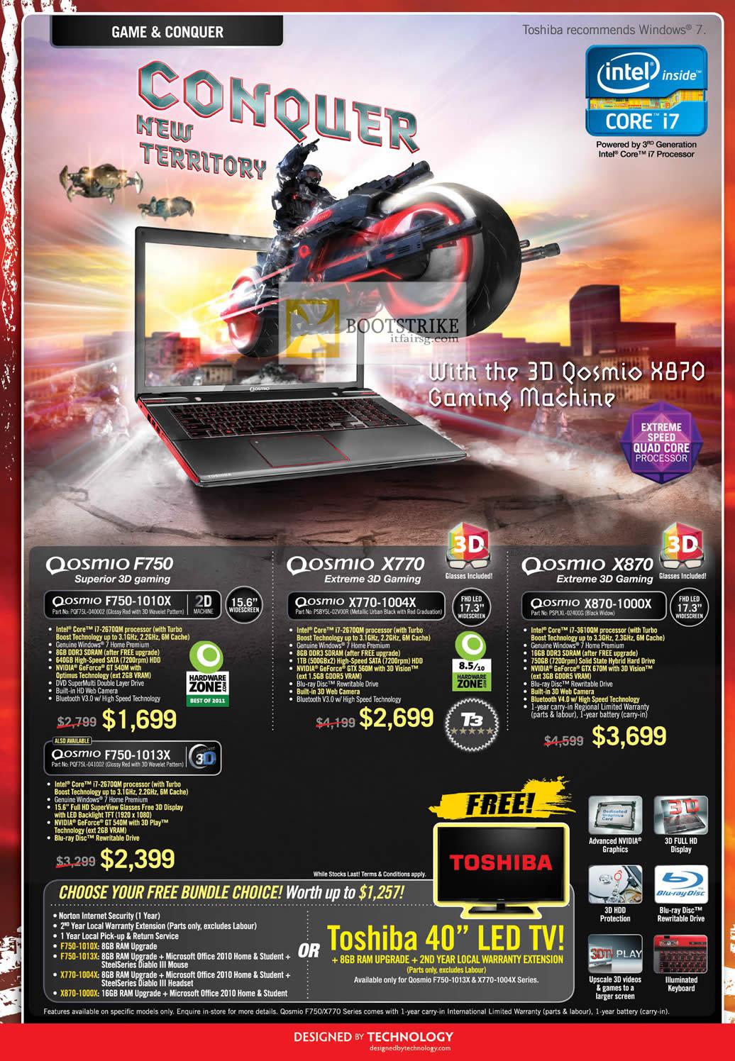 COMEX 2012 price list image brochure of Toshiba Notebooks Gaming Qosmio F750-1010X 1013X, X770-1004X, X870-1000X