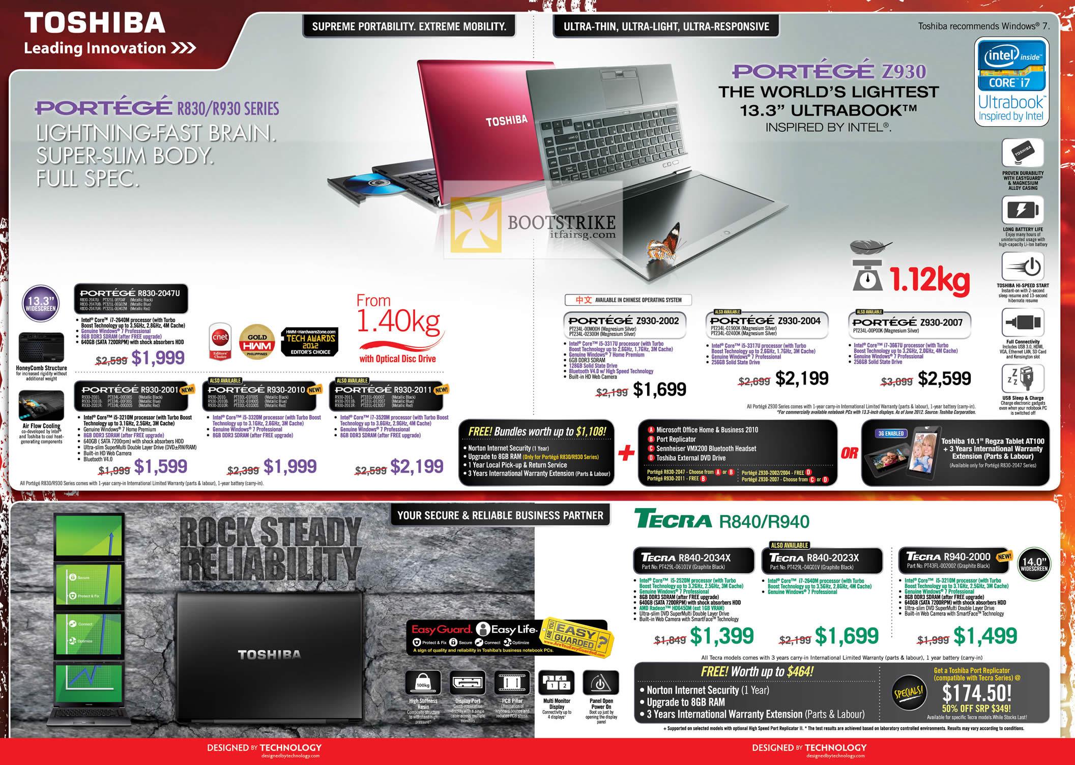COMEX 2012 price list image brochure of Toshiba Notebooks Portege R830-2047U, R930-2001 2010 2011, Z930 2002 2004 2007, Tecra R840 2034X 2023X, R940-2000