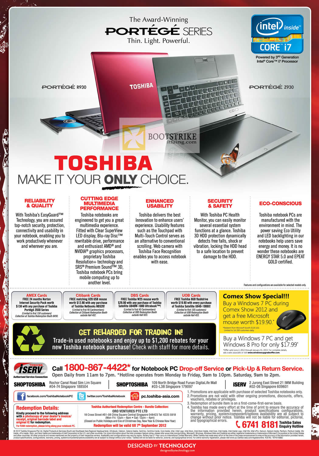 COMEX 2012 price list image brochure of Toshiba Notebooks Portege R930 Z930 Features