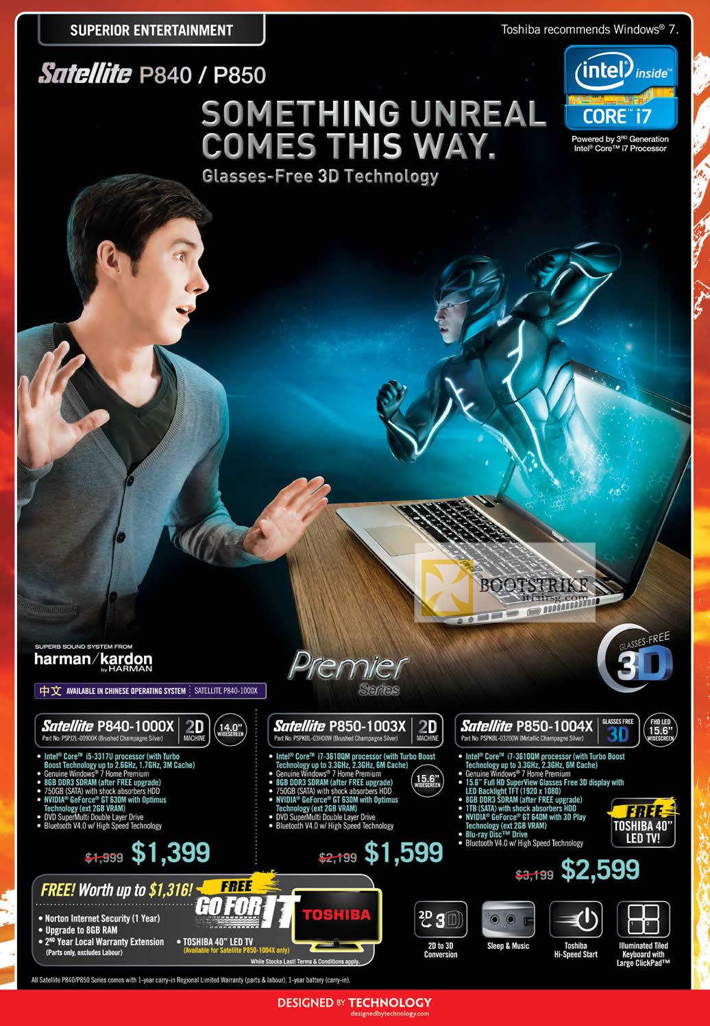 COMEX 2012 price list image brochure of Toshiba Notebooks Satellite P840-1000X, P850-1003X 1004X