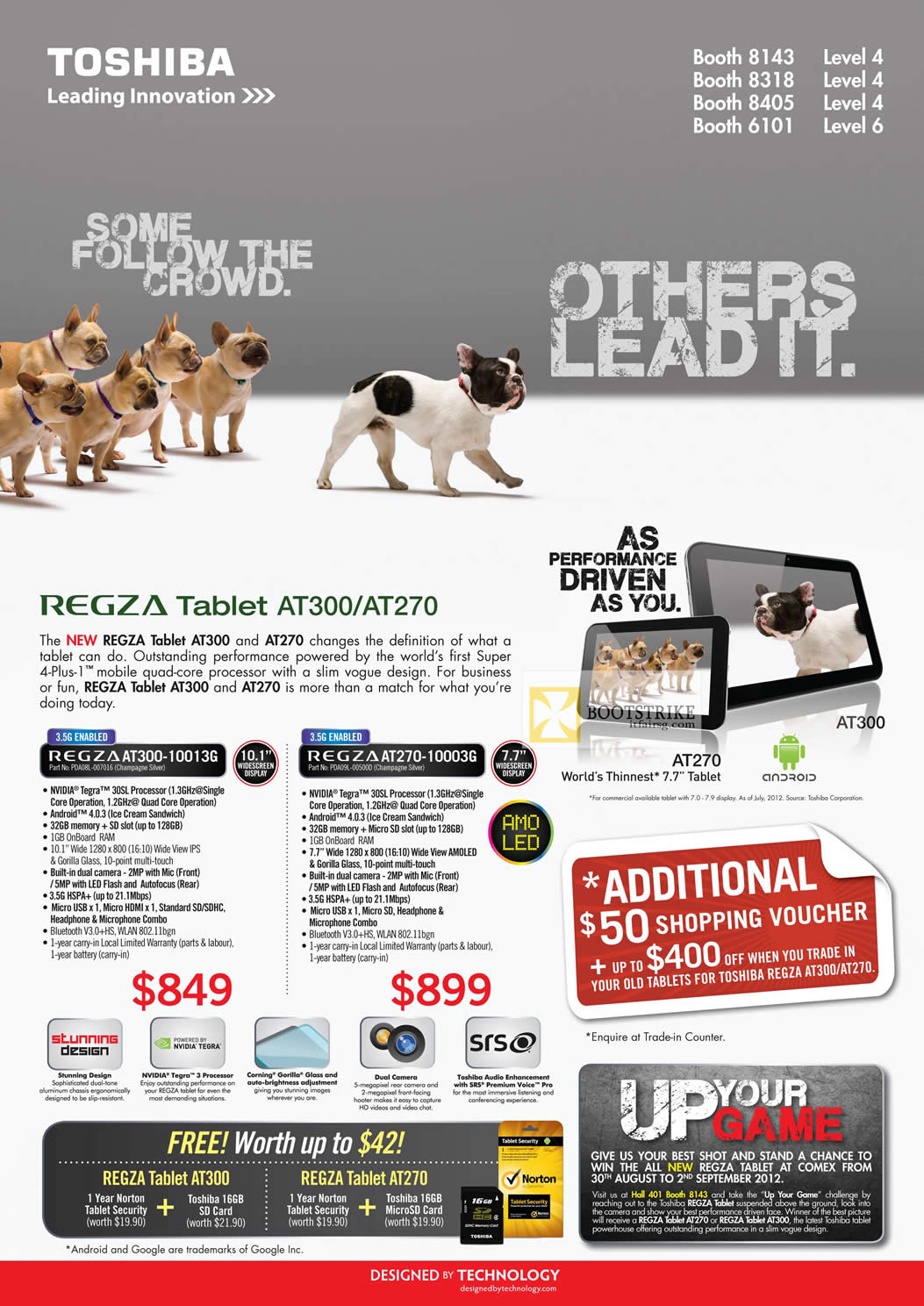 COMEX 2012 price list image brochure of Toshiba Tablets Regza AT300-10013G, AT270-10003G