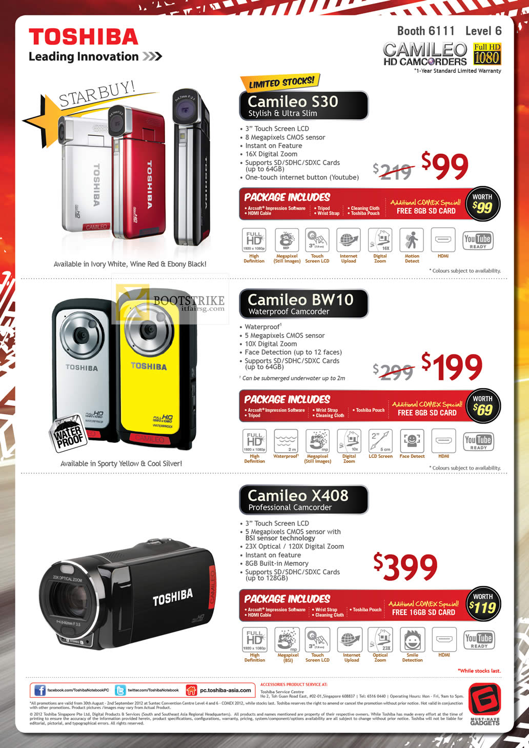 COMEX 2012 price list image brochure of Toshiba Video Camcorders Camileo S30, BW10, X408