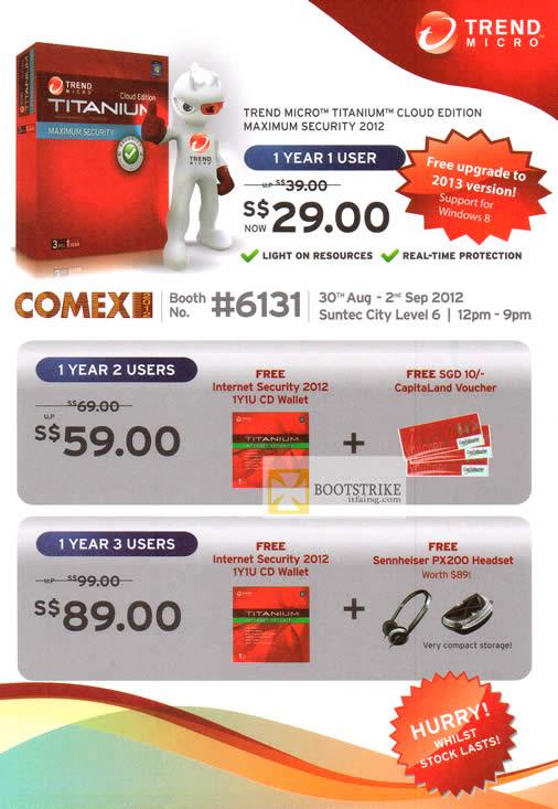 COMEX 2012 price list image brochure of Trend Micro Titanium Cloud Edition Maximum Security 2012