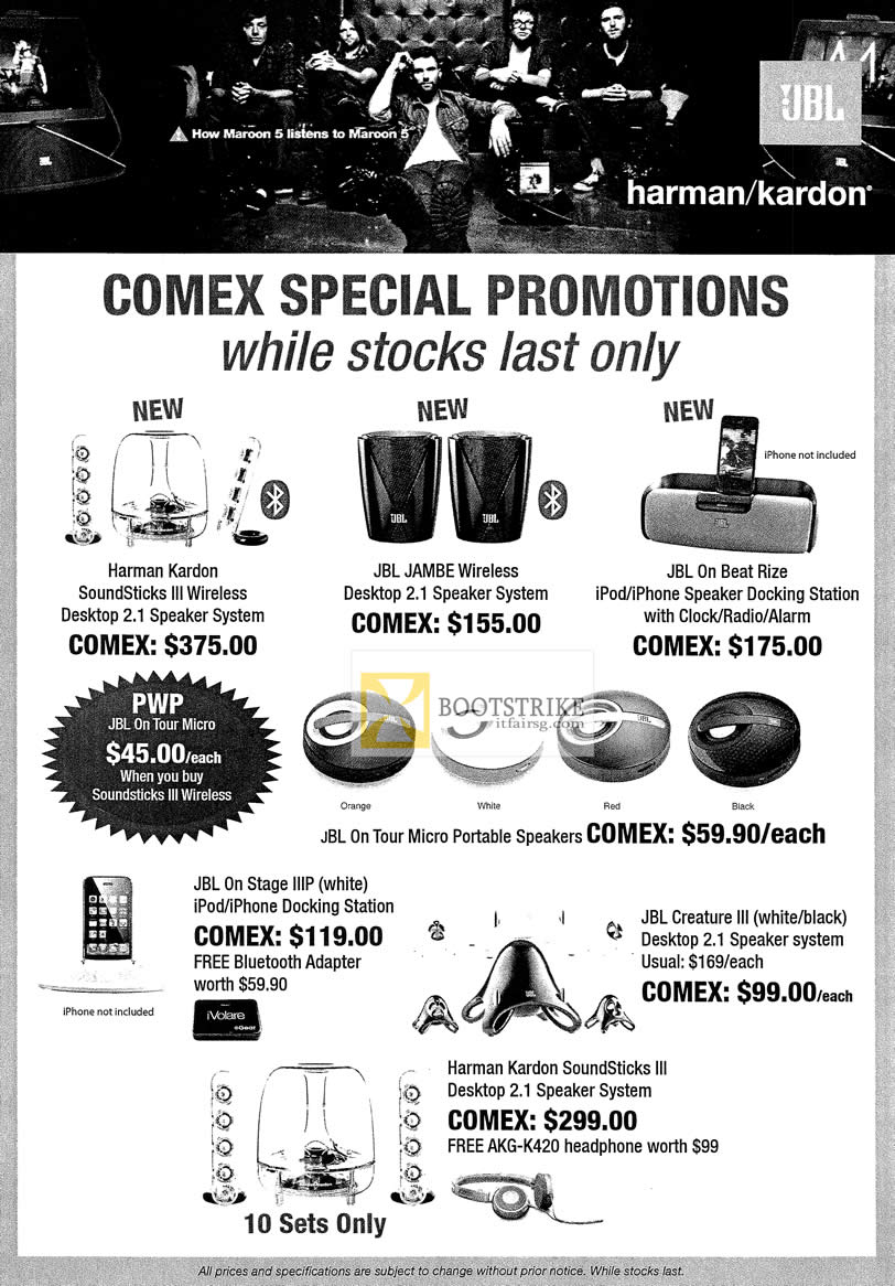 COMEX 2012 price list image brochure of Unknown JBL Speakers Harman Kardon Soundsticks III Wireless, Jambe, On Beat Rize, On Stange IIIP, Creature III