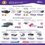 BenQ Projectors SP840, W1100, W1200, MX660P, MX812ST, MX880UST, MX763, MP780ST, Portable Scanners, CP100, CP60, CP70