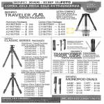 Benro Traveler Flat Tripod Packages, Classic Series Aluminum Tripod B Series Ballheads, Transformer Travel Angel