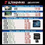 Kingston Flash Memory Cards CompactFlash CF, Elite Pro, SD, SDHC, MicroSD, SDHC