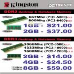 Kingston Memory DDR2, DDR3