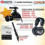 Red Dot DSLR Mic Booms ATR3350, ATR6250, ATR6550, PRO24CM, Audio Monitor ATH-M20, ATH-T200, AT9913IS