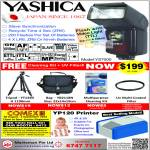 Yashica Flash YS7000, Cleaning Kit, Bag, Tripod YT1340, YP120 Printer