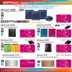 Silicon Power SP External Storage Armor A80, Diamond D05, D10, Stream S10, S20, Technology T10, Velox V70 SSD