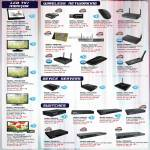 LCD TV, Monitors, Wireless Adapters, Routers, Device Servers, Switch