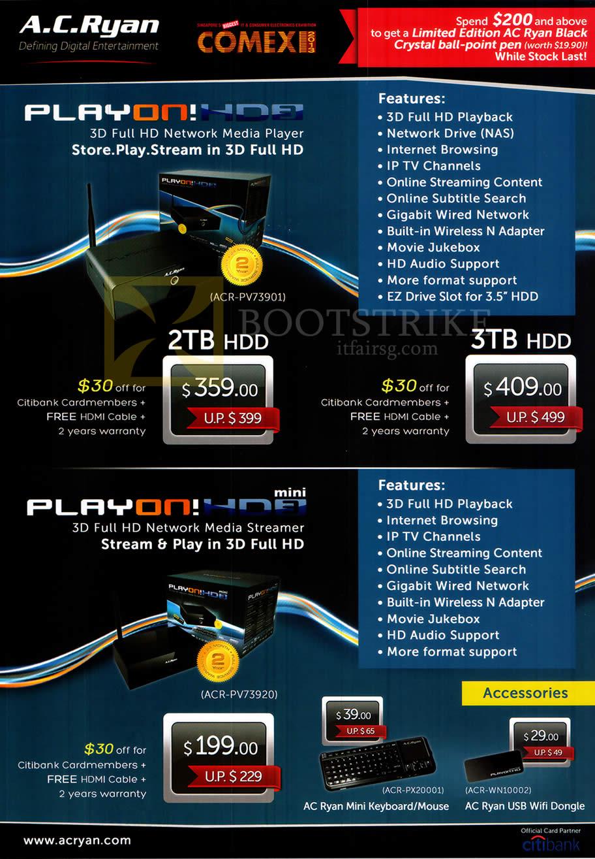 COMEX 2013 price list image brochure of AC Ryan Media Players PlayOn HD3 ACR-PV73901 2TB 3TB, PlayOn HD2 Mini ACR-PV73920, Keyboard, Wifi Dongle
