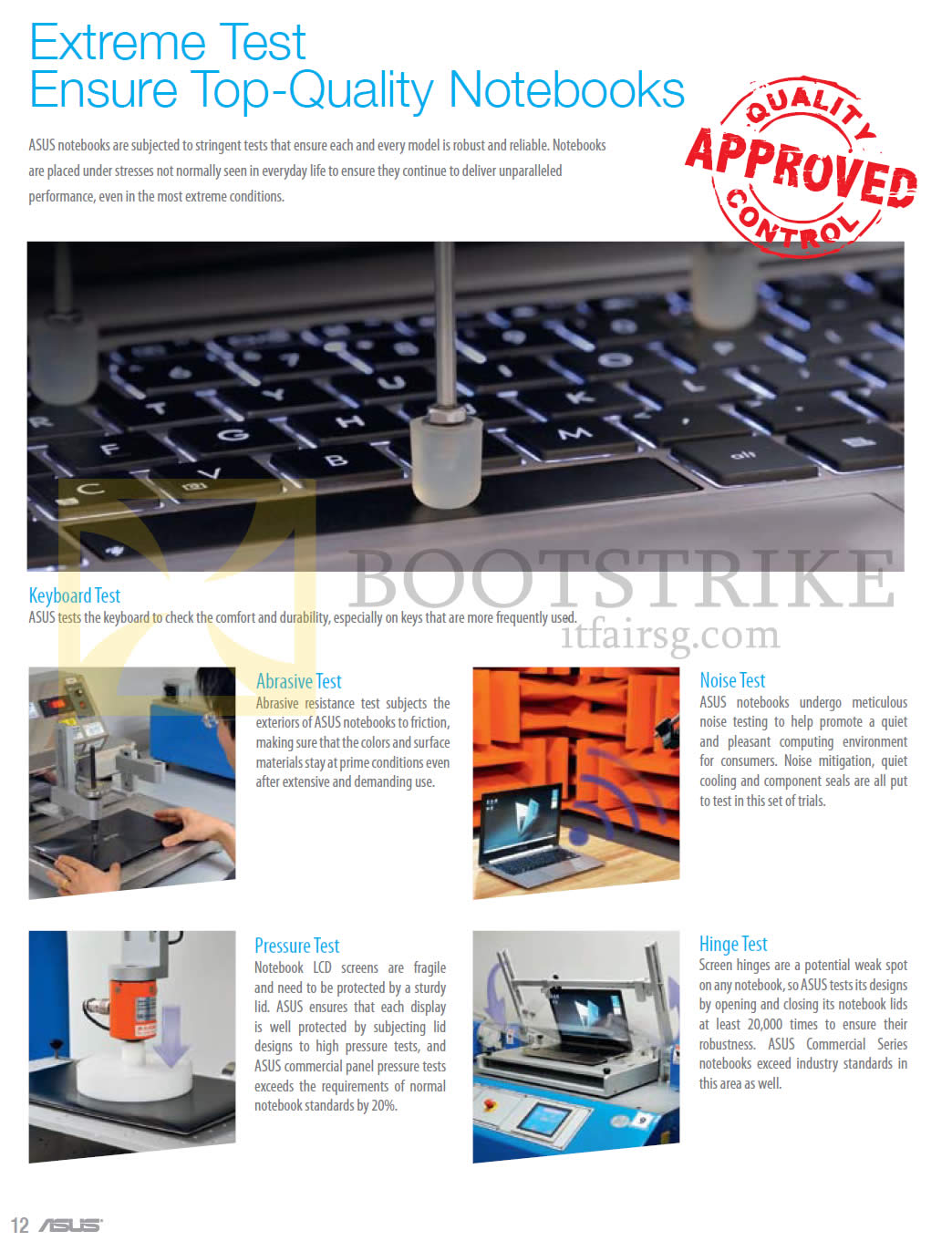 COMEX 2013 price list image brochure of ASUS About Tests Abrasive, Noise, Pressure, Hinge