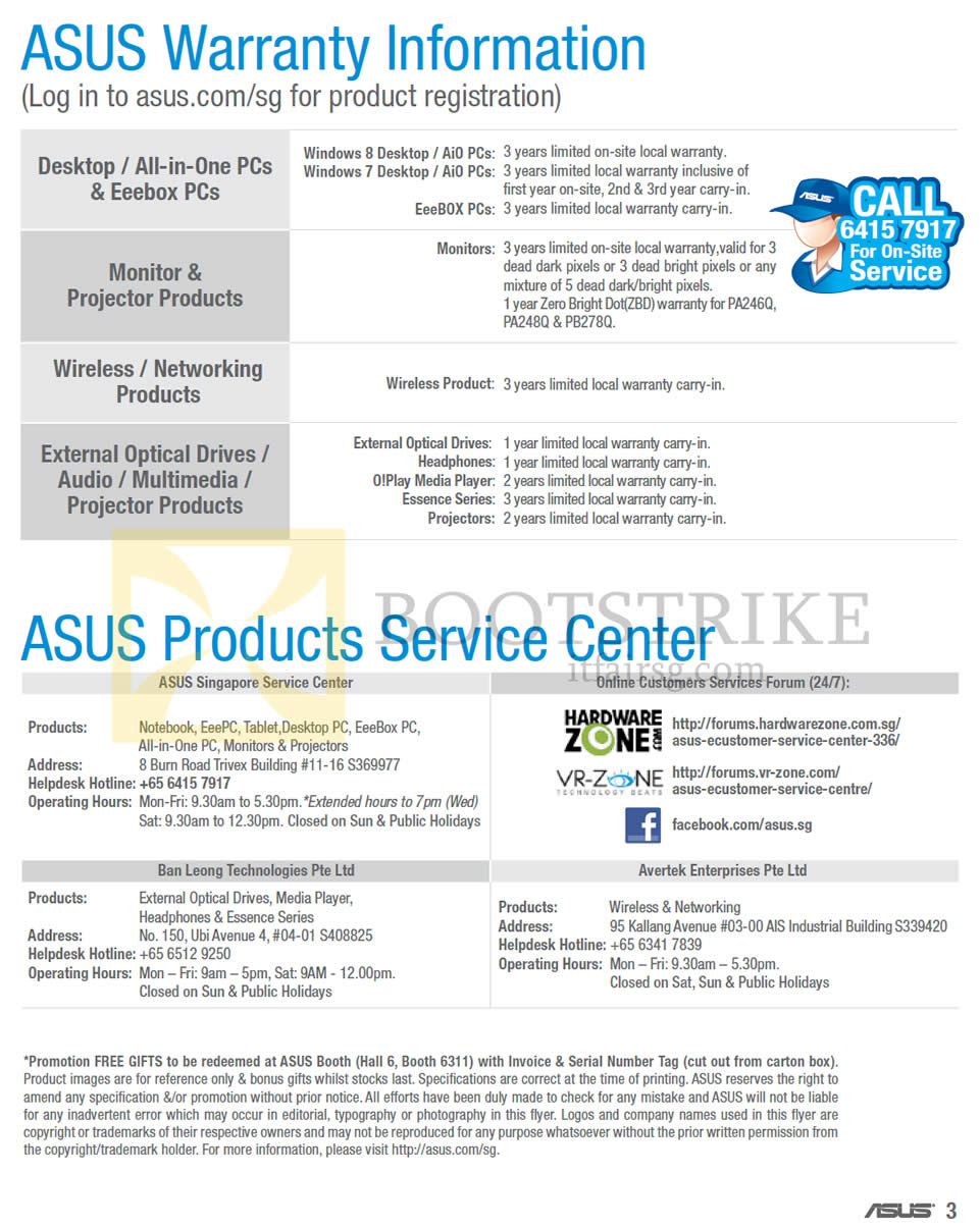COMEX 2013 price list image brochure of ASUS Desktop PC, Networking, Accessories Warranty, Service Centres