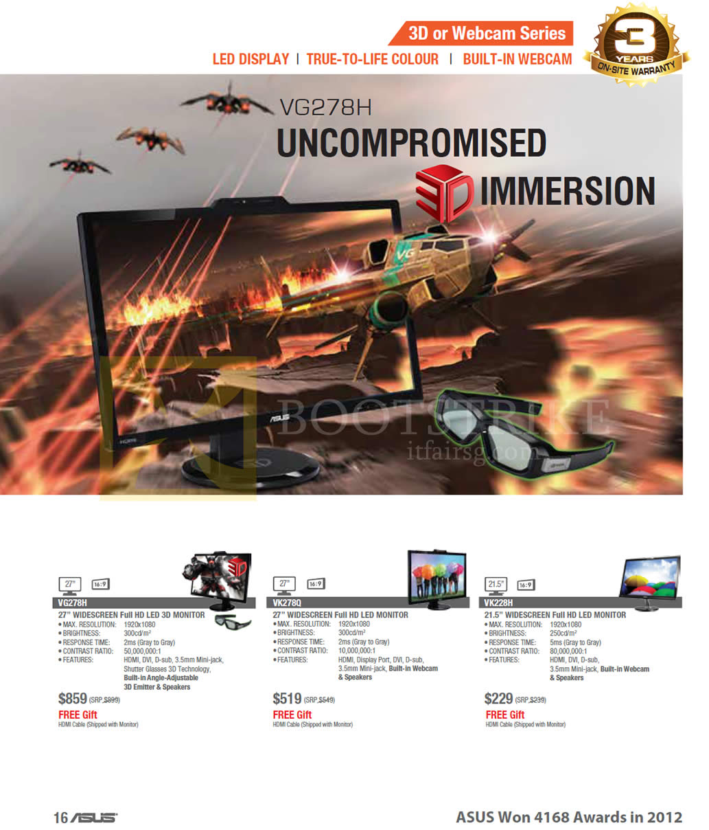 COMEX 2013 price list image brochure of ASUS Monitors 3D Or Webcam Series VG278H, VK278Q, VK228H