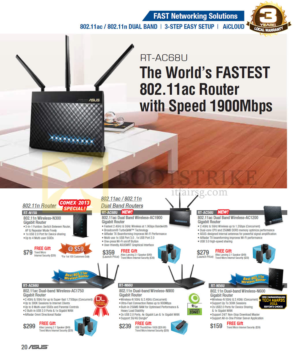 COMEX 2013 price list image brochure of ASUS Networking Routers RT-N15U, RT-AC68U, RT-AC56U, RT-AC66U, RT-N66U, RT-N56U