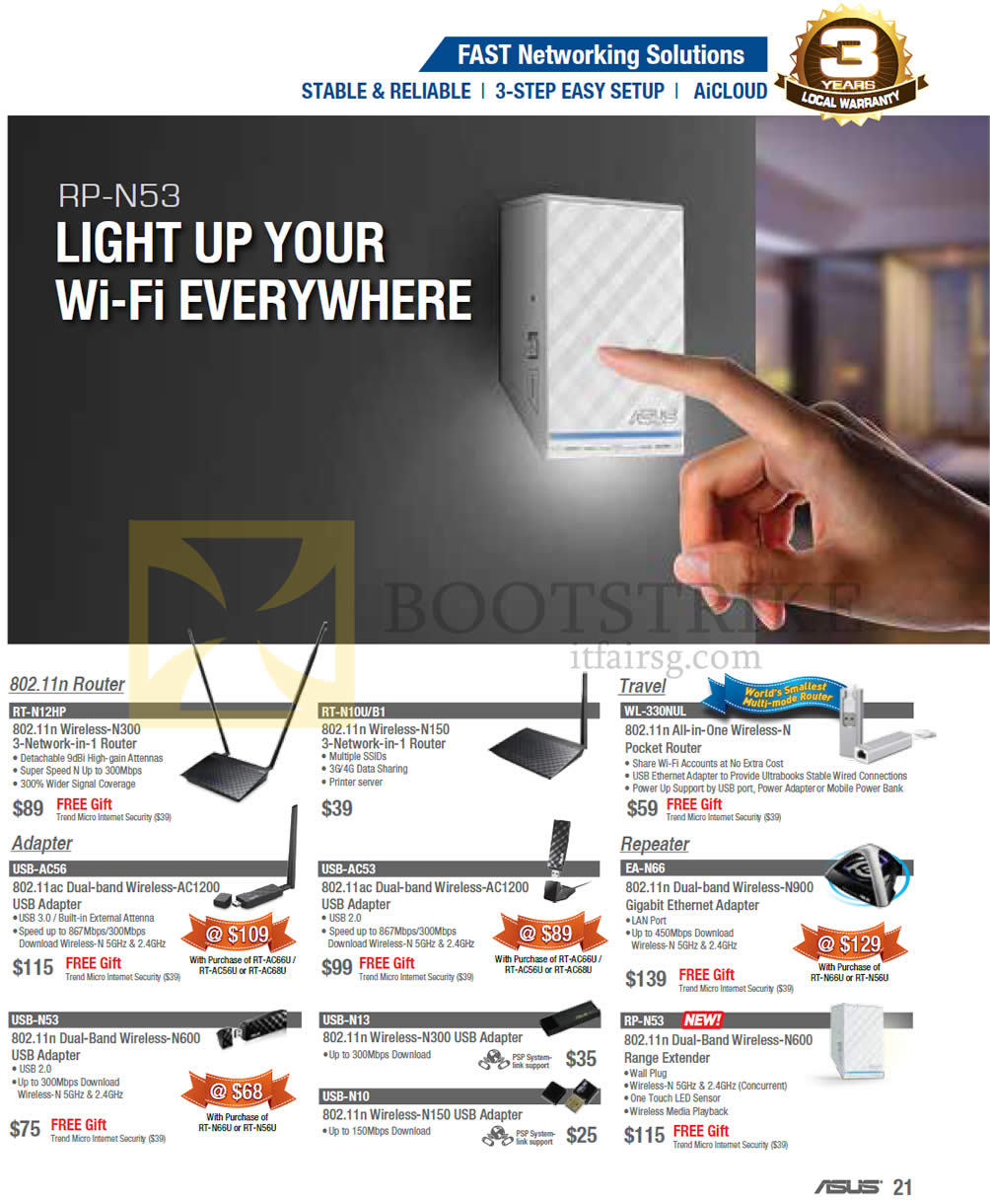 COMEX 2013 price list image brochure of ASUS Networking Routers, Adapters, Repeaters RT-N12HP, RT-N10U B1, WL-330NUL, USB-AC56 AC53, EA-N66, USB N53-N13 N10, RP-N53