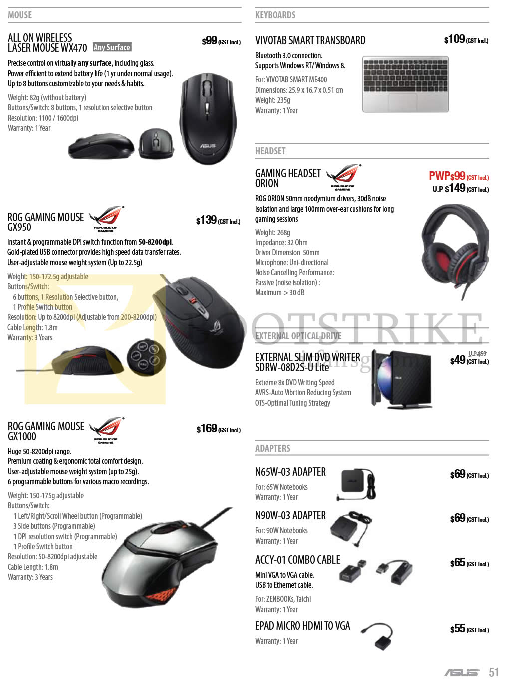 COMEX 2013 price list image brochure of ASUS Notebooks Accessories Mouse WX470, ROG GX950, GX1000, Orion Headset, External Optical Drive, Adapters